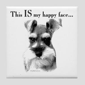 Std. Schnauzer Happy Face Tile Coaster