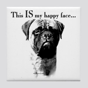 Bullmastiff Happy Face Tile Coaster