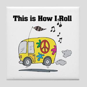 How I Roll (Hippie Bus/Van) Tile Coaster