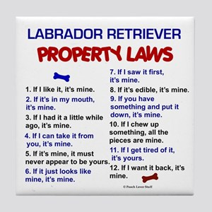 Labrador Retriever Property Laws 3 Tile Coaster