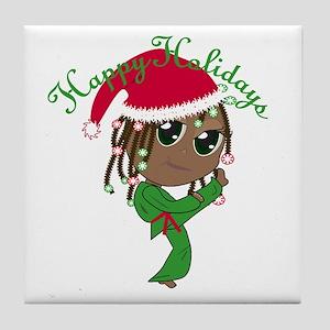 Kicking Spirit Happy Holidays A Tile Coaster