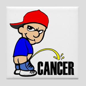Piss On Cancer -- Cancer Awareness Tile Coaster