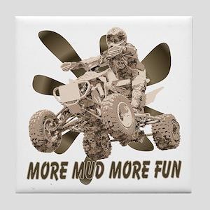 More Mud More Fun on an ATV Tile Coaster