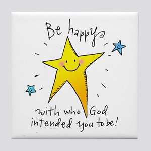 Be Happy Tile Coaster