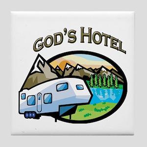 God's Hotel Tile Coaster