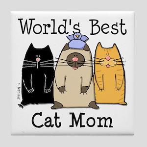 World's Greatest Cat Mom Tile Coaster