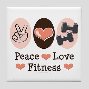 Peace Love Fitness Tile Coaster