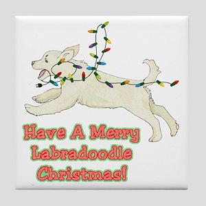 Christmas Labradoodle Tile Coaster