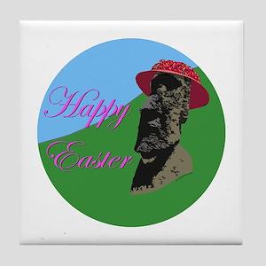 Happy Easter Island Tile Coaster