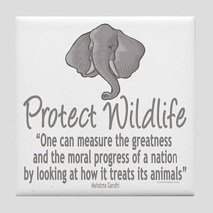 Protect Elephants Tile Coaster