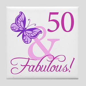 50 & Fabulous (Plumb) Tile Coaster