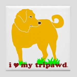Golden Tripawd Love Tile Coaster
