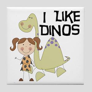 Girl I Like Dinos Tile Coaster