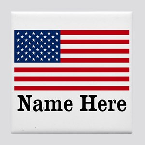 Personalized American Flag Tile Coaster