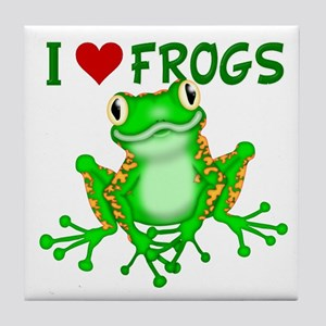 I Love (Heart) Frogs Tile Coaster