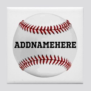Personalized Baseball Red/white Tile Coaster