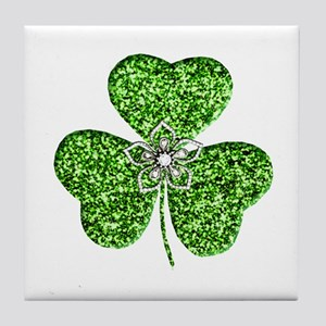 Glitter Shamrock With A Flower Tile Coaster