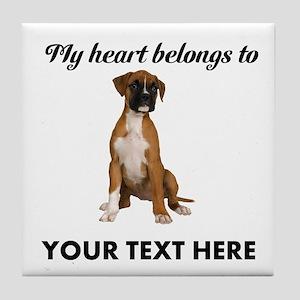 Personalized Boxer Dog Tile Coaster