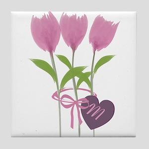 Pink Tulip Monogram Tile Coaster