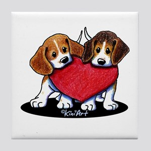 Beagle Heartfelt Duo Tile Coaster