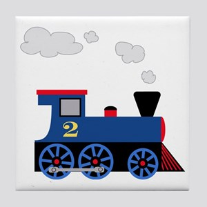 train age 2 blue black Tile Coaster