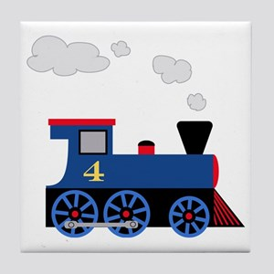 train age 4 blue black Tile Coaster