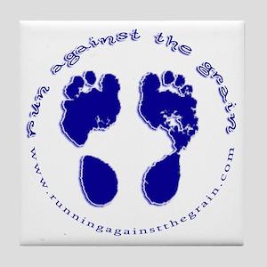 runagainstthegrain_footprint_circle Tile Coaster