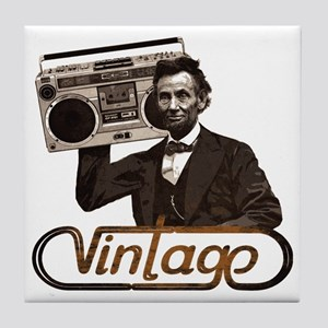 abe lincoln boombox Tile Coaster