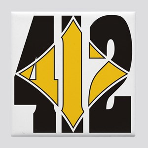 412 Black/Gold-W Tile Coaster