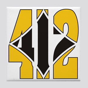 412 Gold/Black-W Tile Coaster