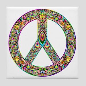 Peace Symbol Psychedelic Art Design Tile Coaster
