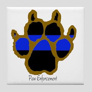Brown Thin Blue Line Paw Enforcement Tile Coaster