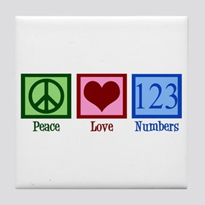 Peace Love Numbers Tile Coaster