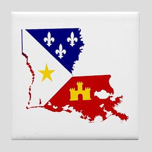 Acadiana State of Louisiana Tile Coaster