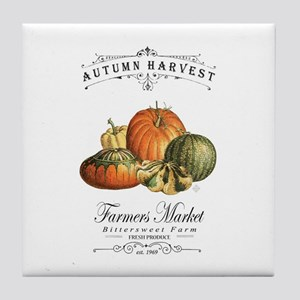 Modern vintage fall gourds and pumpkin Tile Coaste