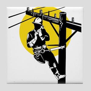 power lineman repairman Tile Coaster