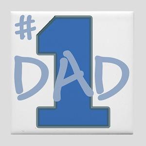# 1 Dad blue gray Tile Coaster