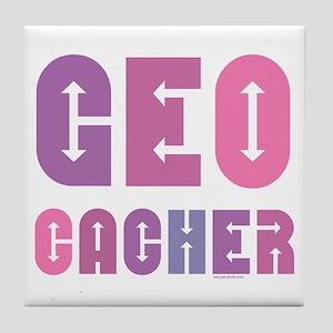 Geocacher Arrows Pink Tile Coaster
