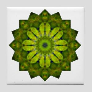 Green Flower Heart Chakra Mandala Yog Tile Coaster