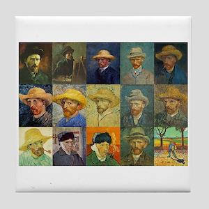 van Gogh Self Portraits Montage Tile Coaster
