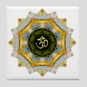 Gold Green Yoga Om Mandala Shirt Tile Coaster