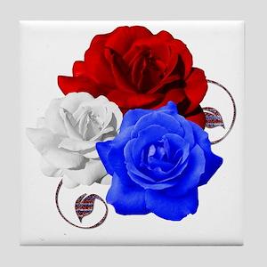 Patriotic Flowers Tile Coaster