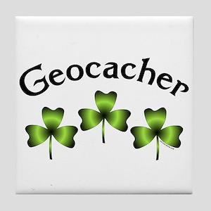 Geocacher 3 Shamrocks Tile Coaster