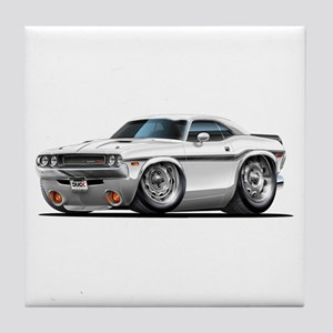 Challenger White Car Tile Coaster