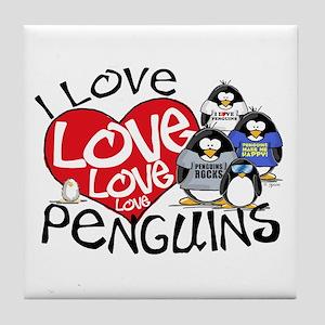 I Love Love More Penguins Tile Coaster