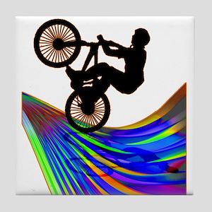 BMX on a Rainbow Road Tile Coaster