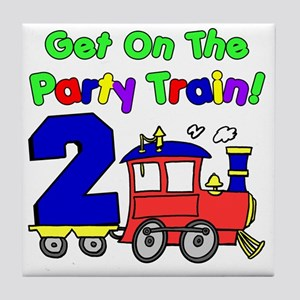 Get On The Party Train 2 Year Old Tile Coaster