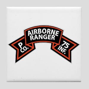 P Co 75th Infantry (Ranger) Scroll Tile Coaster