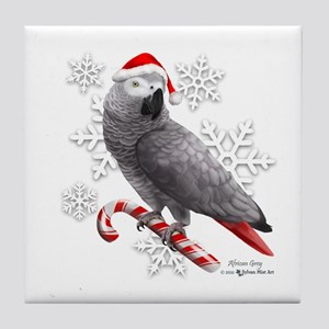 Christmas African Grey Parrot Tile Coaster