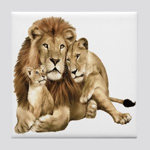 Lion And Cubs Tile Coaster